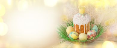 Wiosna kwiatu sztandaru tło z Wielkanocnymi jajkami Wielkanocny wakacyjny kreatywnie tło Zdjęcie Stock