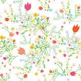 Wiosna kwiecisty bezszwowy wzór z tulipanami ilustracja wektor