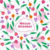 Wiosna kwiecisty bezszwowy wzór z tulipanami ilustracji