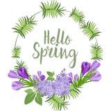 Wiosna Kwiecisty Wektorowy wianek Obraz Royalty Free