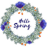 Wiosna Kwiecisty Wektorowy wianek Obrazy Royalty Free