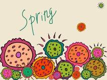 Wiosna kwitnie na beżowym tle ilustracji