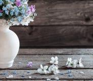Wiosna kwitnie w wazie na ciemnym drewnianym tle Fotografia Royalty Free