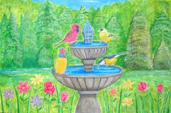 Wiosna kwitnie z ptakiem w fontannie Zdjęcia Royalty Free