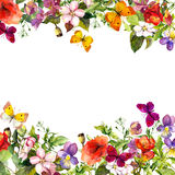 Wiosna, lato ogród: kwiaty, trawa, ziele, motyle motyla opadowy kwiecisty kwiatów serca wzoru kolor żółty akwarela Fotografia Stock
