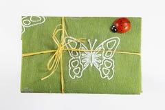 Wiosna, lato prezent w zielonym włókna Kraft papierze/, zdjęcie stock