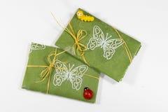 Wiosna, lato prezent w zielonym włókna Kraft papierze/, zdjęcia stock