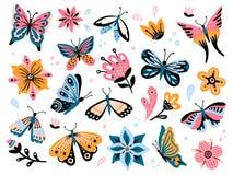 Wiosna motyle i kwiaty Kolorowy ogrodowy kwiat, kwiecisty wystrój i elegancki butterfy odosobniony wektoru set, royalty ilustracja