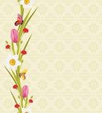 Wiosna motyle na bezszwowym ornamentacyjnym tle i kwiaty ilustracji