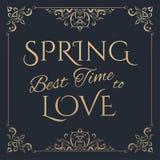 Wiosna Najlepszy czas kochać złotego literowanie Zdjęcia Royalty Free