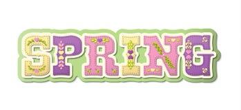 Wiosna, obrazkowy tekst, sezon rok, ilustracja Zdjęcia Royalty Free