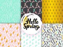 Wiosna Ostrzy Bezszwowi wzory Obrazy Royalty Free