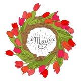 Wiosna pisze list Maja Wektorowy ręcznie pisany typograph Piękny kolorowy bukiet tulipany Zdjęcie Stock