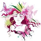 Wiosna, portret kobieta ilustracji