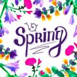 Wiosna - ręka rysujący literowanie ilustracji