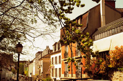 Wiosna ranek w Montmartre ulicie Paris france Fotografia Royalty Free