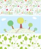 Wiosna sztandary z kwiatami, drzewa, liście, wzory ilustracji