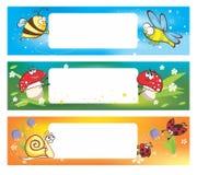 Wiosna sztandary z śmiesznymi insektami Zdjęcie Royalty Free