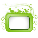 Wiosna wektorowy sztandar z zieloną trawą i kaczką. Zdjęcia Royalty Free