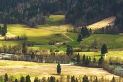 Wiosna wiejski krajobraz w Slovenia obraz stock