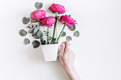 Wiosna z jaskrawymi kwiatami wyśmiewa up na kobiety biurka tła odgórnym widoku Fotografia Stock