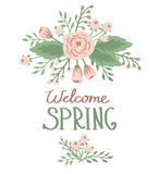 Wiosna z kwiecistymi elementami Obrazy Royalty Free
