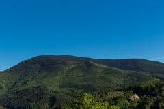 Wiosny łąka w górach Jaskrawy wysokogórski krajobraz z niebieskim niebem Jaskrawy słońce w niebieskim niebie Zieleni pola pod nie Obrazy Royalty Free