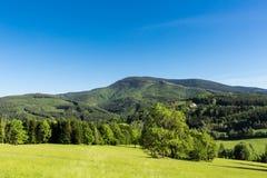 Wiosny łąka w górach Jaskrawy wysokogórski krajobraz z niebieskim niebem Jaskrawy słońce w niebieskim niebie Zieleni pola pod nie Zdjęcia Royalty Free