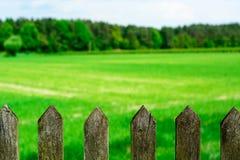 Wiosny łąka z starym drewnianym ogrodzeniem fotografia stock