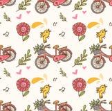 Wiosny bezszwowy tło z bicyklem, kwiatem i śpiewackim ptakiem, ilustracji