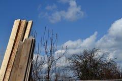 Wiosny chmury, morela i deski, Zdjęcia Stock