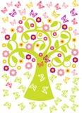 Wiosny drzewo w kwiacie z motylami Obraz Stock