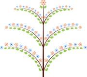 Wiosny drzewo z menchii i błękita kwiatami Ilustracyjnymi Zdjęcia Stock