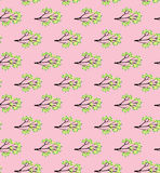 Wiosny gałąź z świeżą zielenią opuszcza na różowego tła wektoru bezszwowym wzorze Zdjęcie Royalty Free