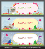 Wiosny karta z kreskówka ptakami i kotami Zdjęcia Stock