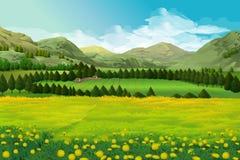 Wiosny krajobrazowy tło royalty ilustracja