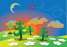 Wiosny kreskówki krajobraz ilustracja wektor