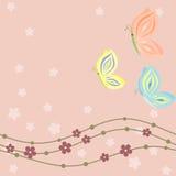 Wiosny kwiecista karta z motylami w pastelowych cieniach ilustracja wektor