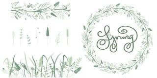 Wiosny kwiecista rama i bezszwowi elementy granicy i ziele royalty ilustracja