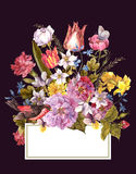 Wiosny Kwiecista Retro karta w rocznika stylu Obrazy Stock