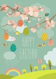 Wiosny kwitnący drzewo z Easter jajkami ilustracja wektor