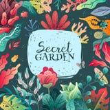 Wiosny lata dekoracyjna ramowa ilustracja Szeroka rozmaitość roślina elementy royalty ilustracja