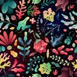 Wiosny lata dekoracyjny bezszwowy wzór bezszwowi deseniowi jaskrawi kwiaty rozgałęziają się i opuszczają na czarnym tle royalty ilustracja