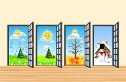 Wiosny lata jesieni zimy cztery drzwi w korytarzu ilustracji