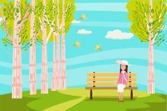 Wiosny miasta krajobrazowy park Siedząca dziewczyna na ławce marzy ptaków target2375_1_ błękitne niebo jaskrawi soczyści kolory royalty ilustracja