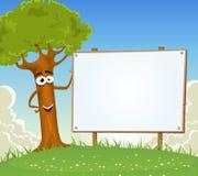 Wiosny mienia pustego miejsca Drzewny billboard royalty ilustracja