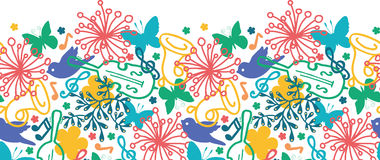 Wiosny muzycznej symfoni horyzontalny bezszwowy wzór Fotografia Royalty Free