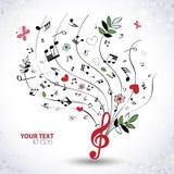 Wiosny muzykalny tło z motylami Zdjęcia Royalty Free
