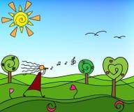 Wiosny natura z drzewami doodle Royalty Ilustracja