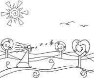 Wiosny natura z drzewami doodle Ilustracja Wektor